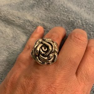 Sterling Silver Rose Ring Size 6